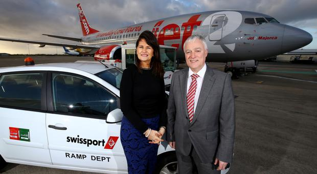 Swissport manager Jean Foster with airport operations director Alan Whiteside