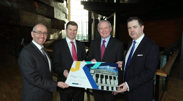 Deputy First Minister Martin McGuinness with Kevin Kingston, Danske Bank, Nigel Maxwell, NIIRTA chairman, and NIIRTA chief executive Glyn Roberts