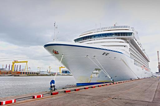 Cruise ship The MS Marina docked at Belfast Harbour in 2014