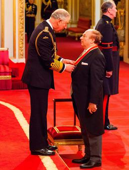 Sir Ivan Morrison is made a Knight Bachelor of the British Empire by the Prince of Wales during an Investiture ceremony at Buckingham Palace, London. PRESS ASSOCIATION Photo. Picture date: Thursday February 4, 2016. See PA story ROYAL Investiture. Photo credit should read: Dominic Lipinski/PA Wire