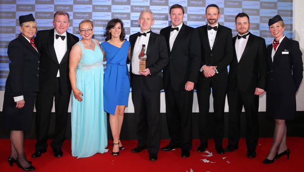 Novosco won the Overall Business of the Year in last year's awards. Patrick Mc Aliskey, head of Novosco, joined colleagues to accept the award from Stephen Humphreys of British Airways and Richard McClean, managing director, Belfast Telegraph