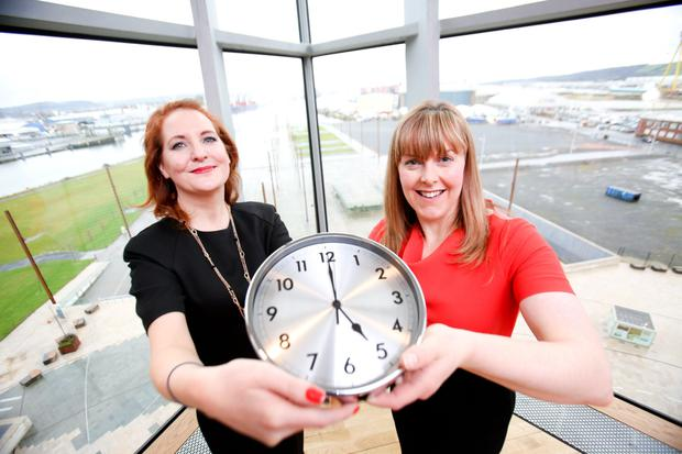 Mary Rossiter, Vayu Energy and Maria O'Loan, Tughans, at Titanic Belfast