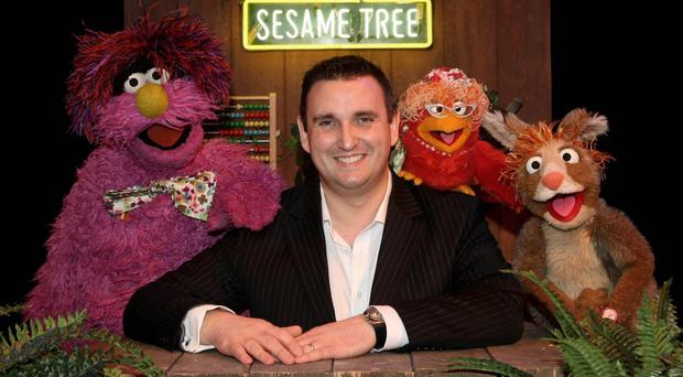 Colin Williams of SixteenSouth with Sesame Tree characters Potto, Hilda and Claribelle