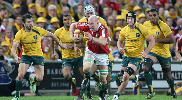 Paul O'Connell in action for the British and Irish Lions against Australia in 2013