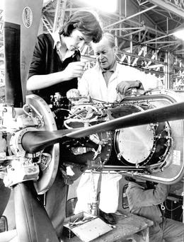 Skilled workers at Shorts Aircraft factory in Belfast back in 1978