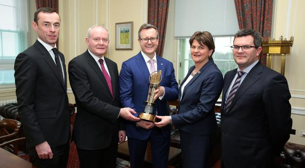 From left: Rob Heron, partner with EY; Deputy First Minister Martin McGuinness; Sean Duffy, EY programme director; First Minister Arlene Foster, and Colm Devine, EY partner