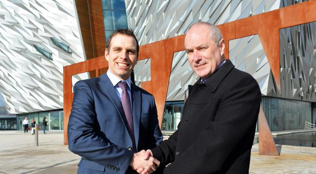 Nimbus managing director Gareth McAlister (left) and Jim Christian, Titanic Belfast's head of facilities