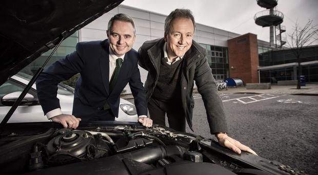 Managing director of MyCarNeedsA.com, Scott Hamilton, with Alan Watts, director of Halo, based at the NI Science Park