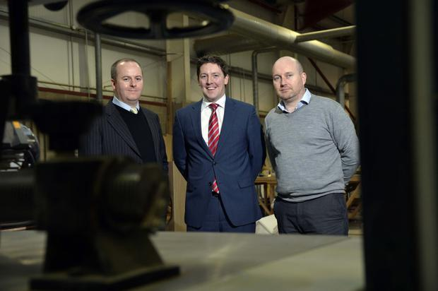 Allan Campbell and Seamus Murray from Edgewater Contracts and Specialist Joinery and Andrew Gowdy (centre) Whiterock Capital Partners