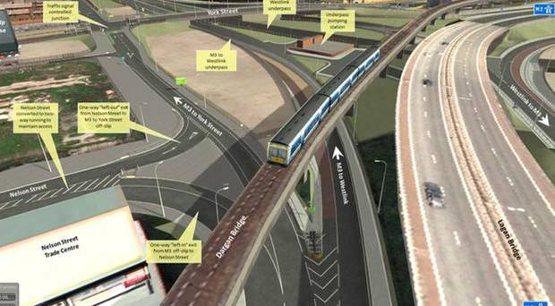 An artist's impression of the York Street Interchange project in Belfast