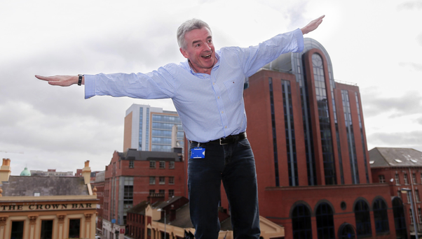 Ryanair chief Michael O'Leary larks about after yesterday's Press conference earlier this year