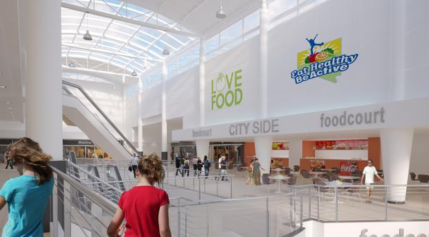 An artist's impression of how the Cityside foodcourt area could look