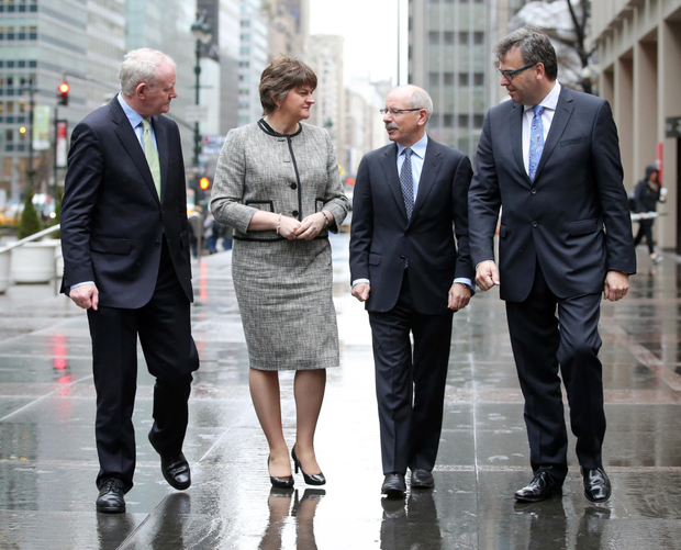 First Minister Arlene Foster and Deputy First Minister Martin McGuinness with Shaun Kelly, global chief operating officer for KPMG, and Invest NI chief Alastair Hamilton. They were outside the offices of KPMG International in Park Avenue, New York