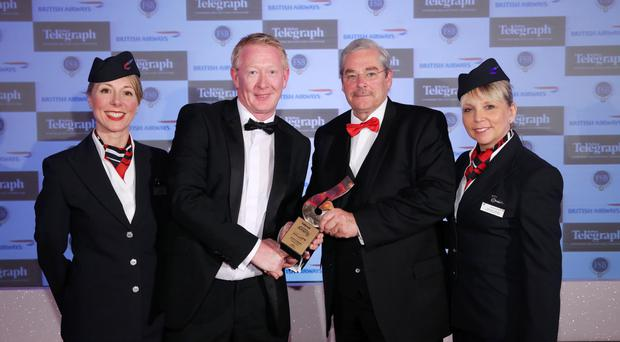 Wilfred Mitchell (right) presented the Excellence in Innovation award to Jim Hannan, of Hannan Meats, last year. They were joined by Christine Wright and Jayne Deasy from British Airways