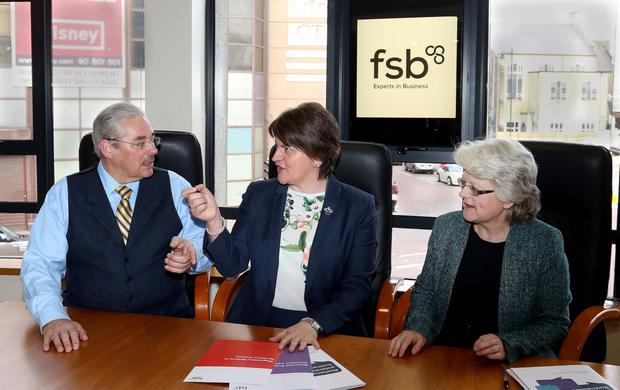 First Minister Arlene Foster with Wilfred Mitchell and Carolyn Brown of FSB Northern Ireland