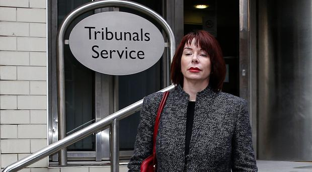 Former procurement director of the Co-op Kathleen Harmeston outside the employment tribunal offices in Manchester