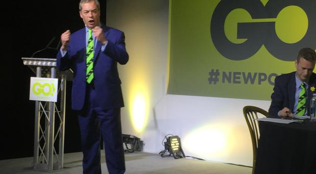 UKIP leader Nigel Farage speaks at the Grassroots Out event in Rodney Parade, Newport, South Wales.