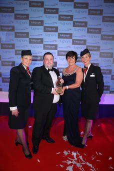 Phyllis Agnew, a senior partner at Tughans, presented the award for Outstanding Service to Business to Jonny Cooke of Peninsula Care Services last year. They were joined by Christine Wright and Jayne Deasy from British Airways