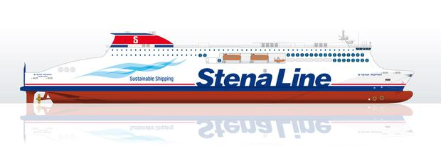 A drawing of one of the new Stena Line RoPax vessels, which are to be built by a shipyard in China