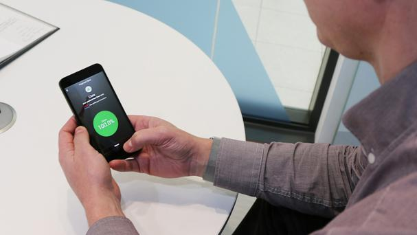 A smartphone with behavioural biometrics technology (Nationwide Building Society/PA)