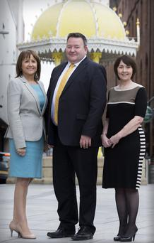 Ann McGregor, Chief Executive of NI Chamber of Commerce, Brian Murphy, Partner at BDO, and Maureen O'Reilly, economist