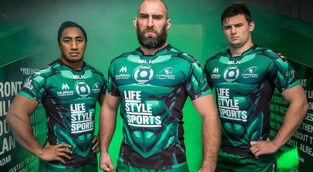 Connacht rugby team's Bundee Aki, John Muldoon and Eoghan Masterson wearing limited edition shirts
