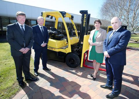 First Minister Arlene Foster on a visit to Hyster-Yale in Portadown to celebrate the company's 35th anniversary with Alan Little, vice president European manufacturing, Harry Sands, European MD and Jim Downey, plant manager