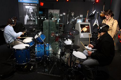 The interactive studio at the British Music Experience exhibition