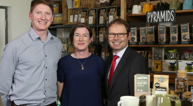 Annie Irwin and Oscar Woolley, co-founders of Suki Tea with Richard Caldwell, Managing Director of Business Banking at Danske Bank