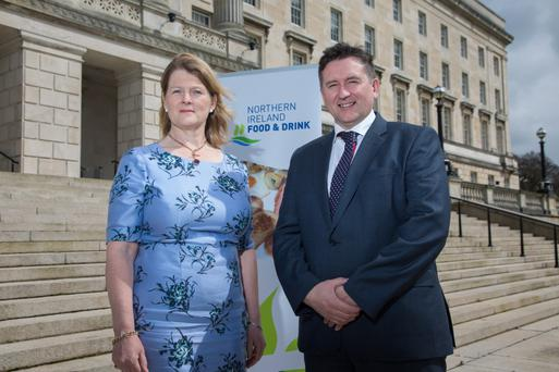 Groceries Code Adjudicator Christine Tacon with Declan Billington, chairman of the Northern Ireland Food and Drink Association (NIFDA)