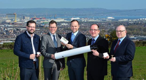 From left: Andrew Lamont, Triangle Housing; Stephen Woodrow, Fold Housing Association; Connaire McGreevy, CTS Projects; Sean McGrath, Alpha Housing and Scott Thompson, Habinteg Housing Association