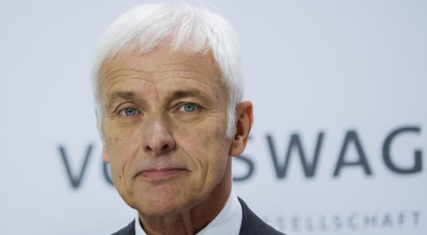 Volkswagen chief executive Matthias Mueller at the company's annual press conference in Wolfsburg, Germany (AP)