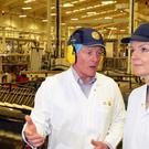 Environment Secretary Elizabeth Truss visiting the Weetabix factory at Burton Latimer (Weetabix/PA)
