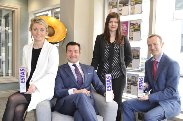 John Minnis branch manager Jordana Storey, company director John Minnis, senior retail manager Jilly Stewart and director Stephen McLean after the firm won four awards including best letting agency in Northern Ireland