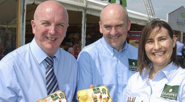 Brian Conway (left) from Asda with John and Eileen Hall of Cavanagh Free Range Eggs