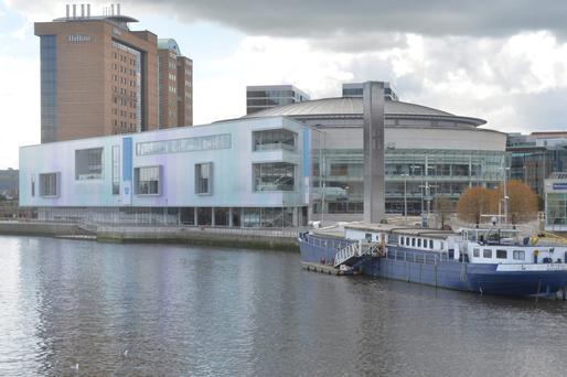 The Waterfront extension featuring the two blue banners