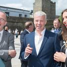 Councillor Elisha McCallion and Des Gartland from Invest NI chat with Bill Thomas (centre) from OneSource Virtual, which is to create 289 new jobs in Londonderry