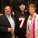 Bryan McFadden with the erstwhile managing director of The Odyssey, Peter Curistan, and his with Ann back in 2005, after the pop star played the Belfast venuethe