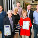 From left: Rory Best, Seamus McCann, Rhona Quinn of QMAC Construction, and Patricia McCann. Back (left to right), Kieran McClelland, Peter Rafferty and Melvin Millar.