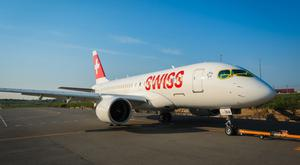 The first C Series jet in Swiss International Air Lines livery