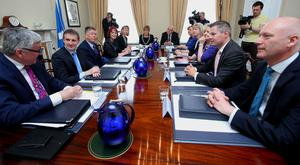 Economy Secretary Keith Brown, third left, was appointed in Nicola Sturgeon's Cabinet reshuffle following the election on May 5