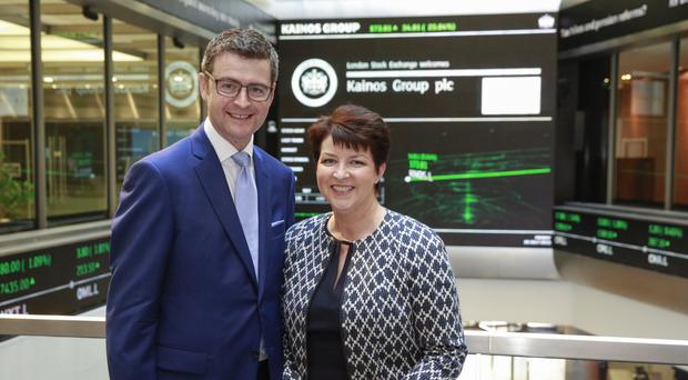Brendan Mooney and wife Eileen during the launch of Kainos at the London Stock Exchange last year
