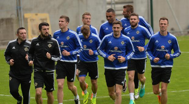 Northern Ireland squad during a training session for the Euros in France