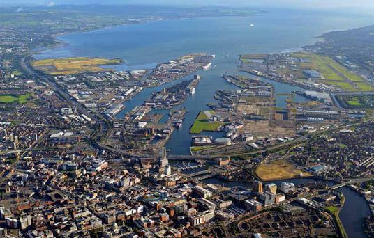 A view of the Belfast Harbour estate from the air