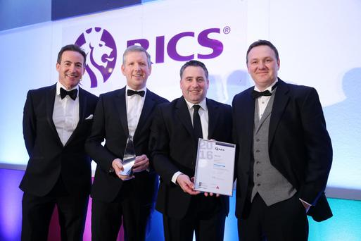 From left, Gary McCausland, awards ceremony MC, with Graeme Johnston, property director Belfast Harbou