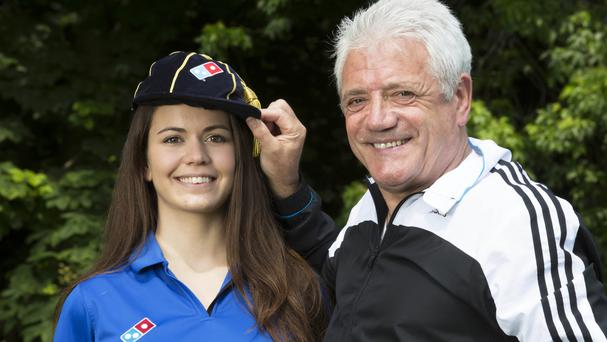 Former England football player and manager Kevin Keegan with new Dominio's employee Eva Juhasz (Dominios/PA)