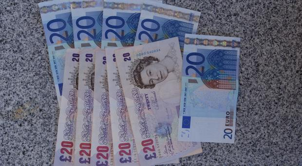 Euro notes and pound notes.
