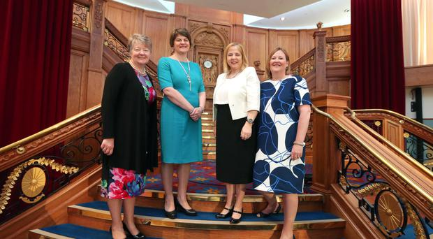 First Minister Arlene Foster with Ellvena Graham, chairperson of ESB and the Waterfront and Ulster Hall, Imelda McMillan, chairperson of Women in Business (WIB), and Roseann Kelly, WIB chief executive, at Titanic Belfastplans