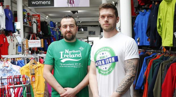 Marcin Rog and Matt Madill wearing Northern Ireland T-shirts from Ski and Sports