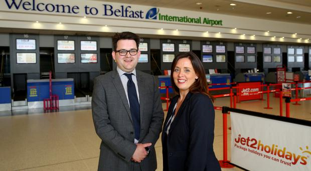 Chris McGarry, IT Manager at Belfast International Airport, with Joanne McPoland, BT Business and Public Sector. Belfast International Airport provides customers with premium quality free Wi-fi supported by BT Business